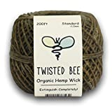 100% Organic Hemp Wick with Natural Beeswax Coating | Twisted Bee (200ft x ...
